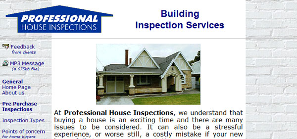 Site snapshot - Professional House Inspections